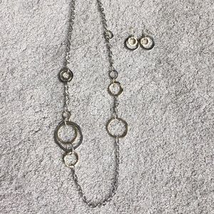 Gold/silver necklace and earrings